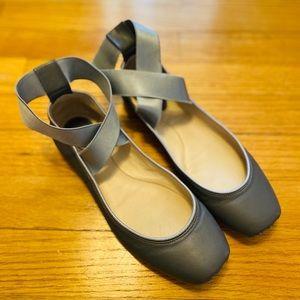 Chloé Gray Criss-Cross Ankle-Strap Ballerina Flats